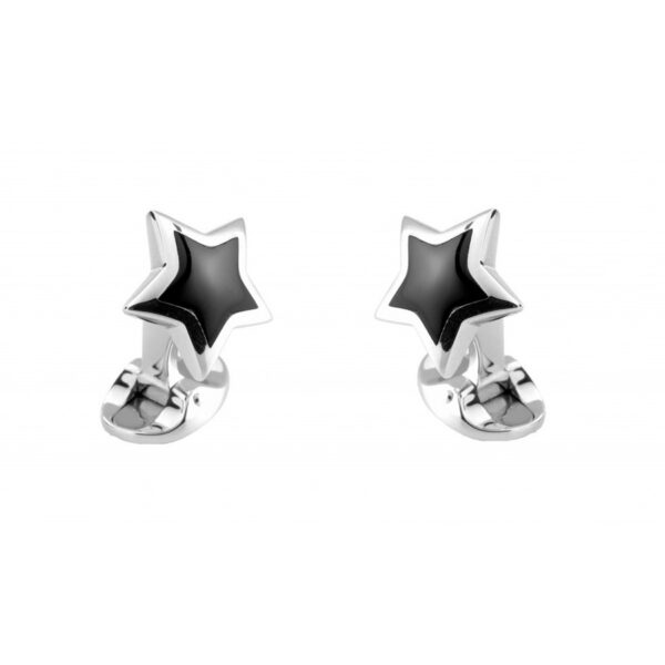 Sterling Silver Star Cufflinks with Onyx Inlay