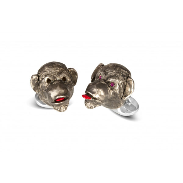 Sterling Silver Cheeky Monkey Cufflinks with Ruby Eyes