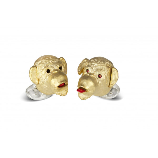 Sterling Silver Gold Plated Cheeky Monkey Cufflinks with Ruby Eyes