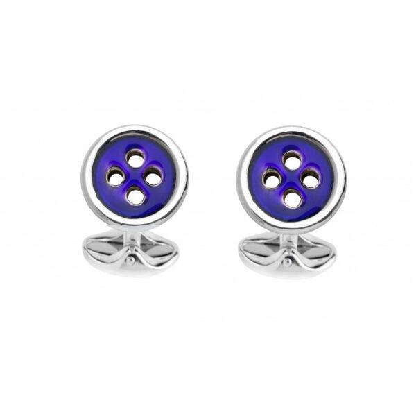 Sterling Silver Navy Blue Button Cufflinks