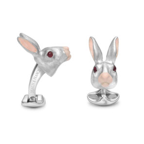 Sterling Silver Hare Cufflinks with Ruby Eyes and Pink Ears