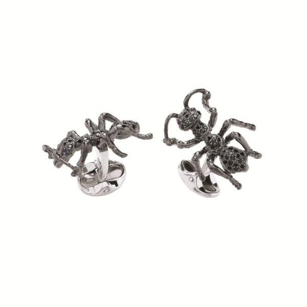 Sterling Silver Black Spinel Ant Cufflinks