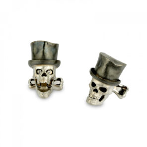 18ct White Gold Skull Cufflinks with Top Hat