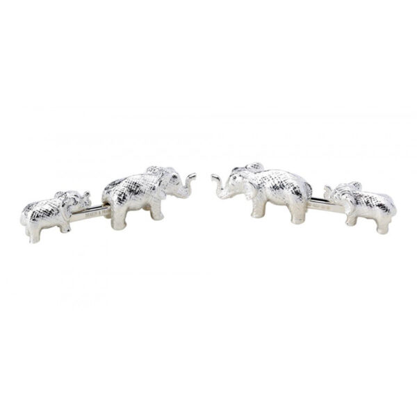 Sterling Silver Mother and Baby Elephant Cufflinks