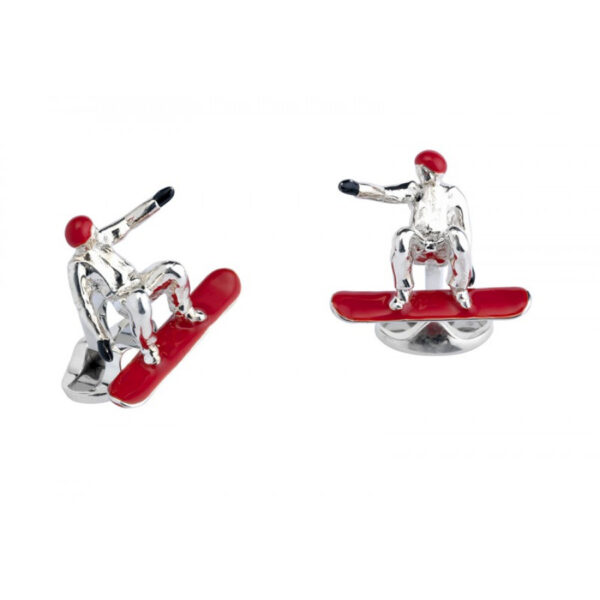 Sterling Silver Snowboarder with Red Snowboard and Helmet