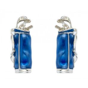 Sterling Silver Blue Golf Bag Cufflinks