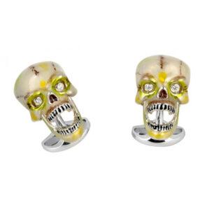 'Suspicious Death' Sterling Silver Enamel Skull Cufflinks