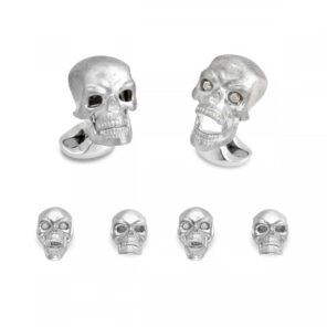 Sterling Silver Skull Dress Stud Set with Diamond Eyes