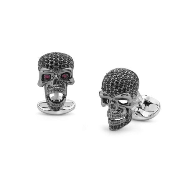 Sterling Silver Black Spinel Skull Cufflinks