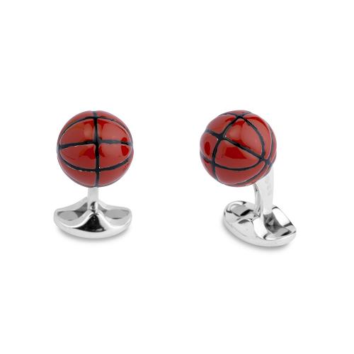 Sterling Silver Enamel Basketball Cufflinks