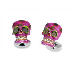 Sterling Silver Pink and Green 'Day of the Dead' Skulls