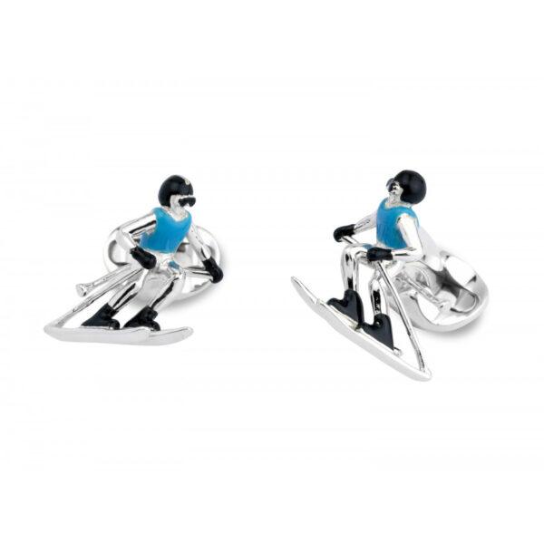 Sterling Silver Skier Cufflinks