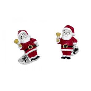 Sterling Silver Santa Cufflinks