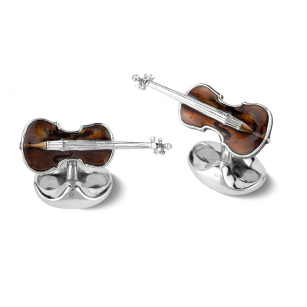 Sterling Silver Violin Cufflinks