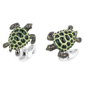 Sterling Silver Green Turtle Cufflinks