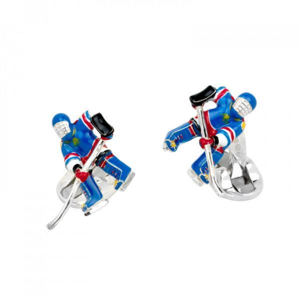 Sterling Silver Ice Hockey Cufflinks
