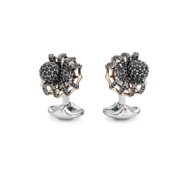 Sterling Silver Black Spinel Spider Cufflinks