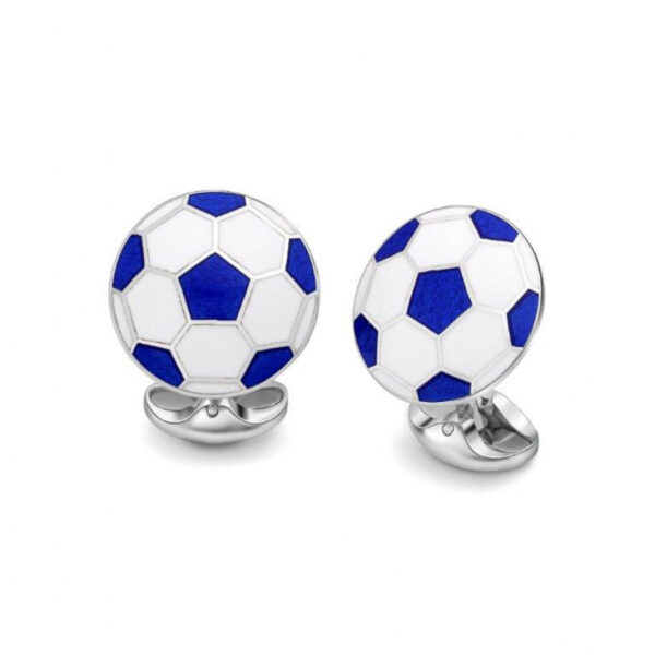 Sterling Silver White and Blue Football Cufflinks