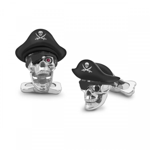 Sterling Silver Pirate Skull Cufflinks with Hat and Ruby Eyes