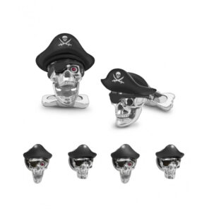 Sterling Silver Pirate Hat Skull Dress Stud Set with Ruby Eyes