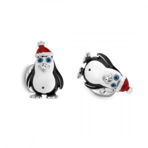 Sterling Silver Christmas Penguin Cufflinks
