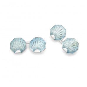 Sterling Silver Turquoise Shell Vitreous Enamel Cufflinks