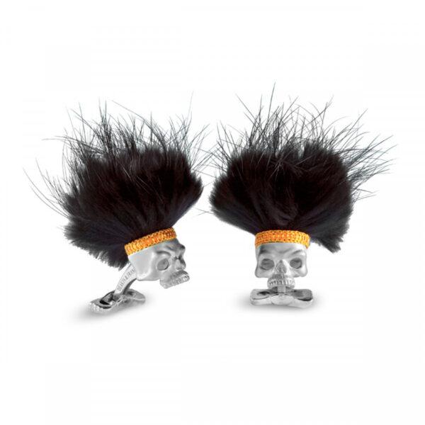 Sterling Silver Savage Skull Cufflinks With Black Hair