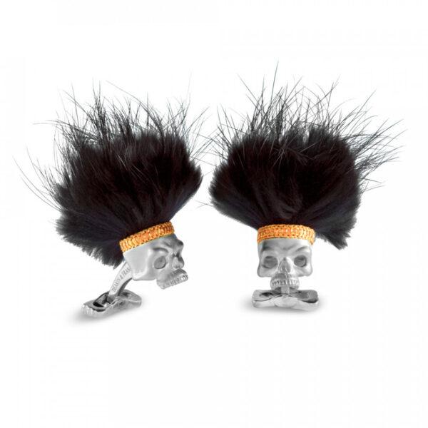 Sterling Silver Savage Skulls with Black Hair Dress Stud Set