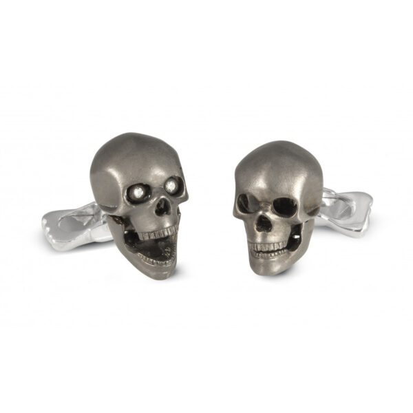 Sterling Silver Grey Skull Cufflinks with Diamond Eyes