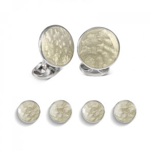 Sterling Silver Light Grey Haze Enamel Dress Stud Set