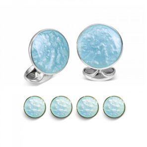 Sterling Silver Pale Blue Haze Enamel Dress Stud Set