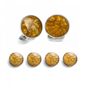 Sterling Silver Burnt Orange Haze Enamel Dress Stud Set