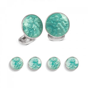 Sterling Silver Turquoise Haze Enamel Dress Stud Set