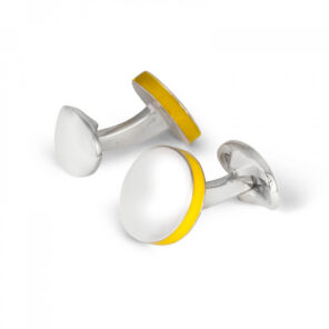 Sterling Silver Round Cufflinks with Yellow Edge