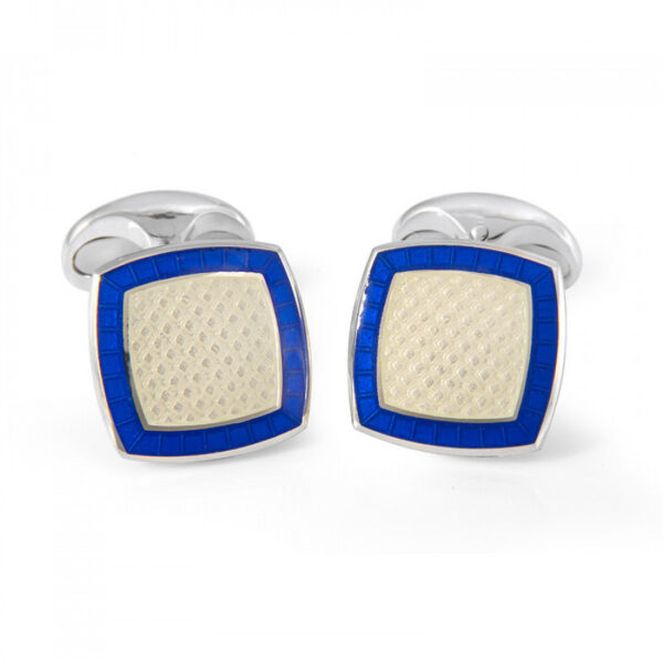 Sterling Silver Clear Enamel Cufflinks with Royal Blue Border