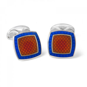 Sterling Silver Orange Enamel Cufflinks with Royal Blue Border