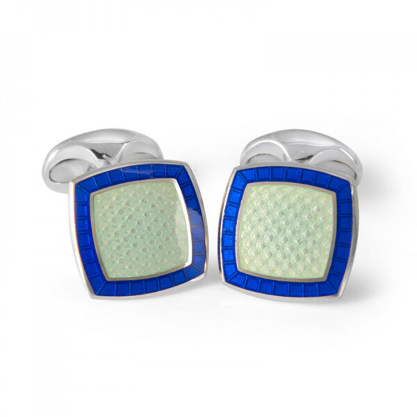 Sterling Silver Pale Blue Enamel Cufflinks with Royal Blue Border