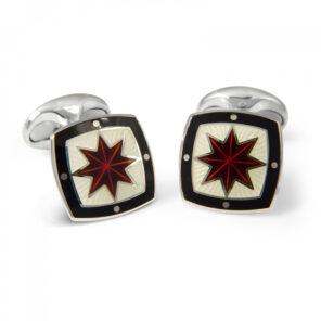 Sterling Silver Fancy Red Star Enamel Cufflinks