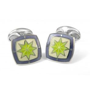 Sterling Silver Fancy Green Star Enamel Cufflinks