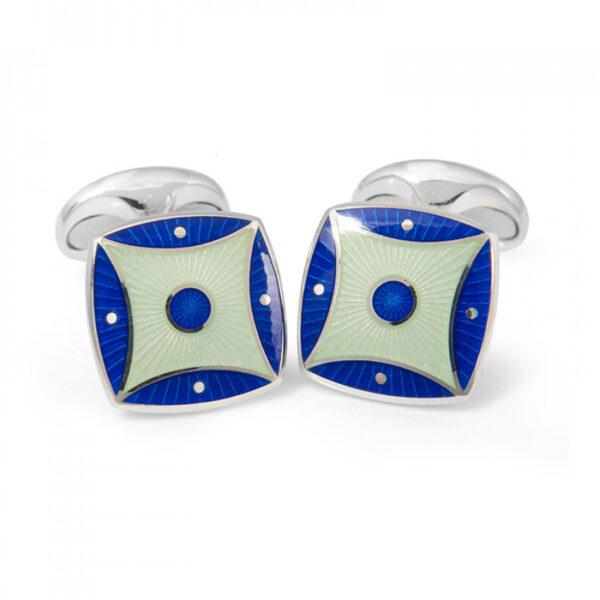 Sterling Silver Royal Blue & Silver Blue Pattern Enamel Cufflinks