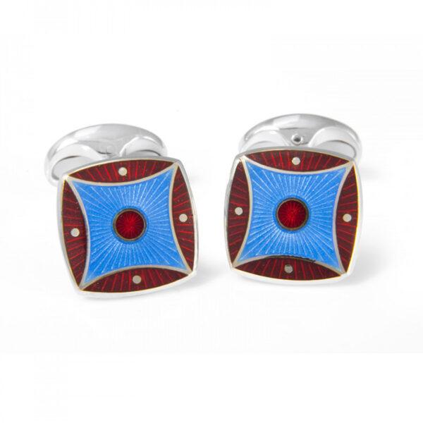 Sterling Silver Red & Sky Blue Pattern Enamel Cufflinks