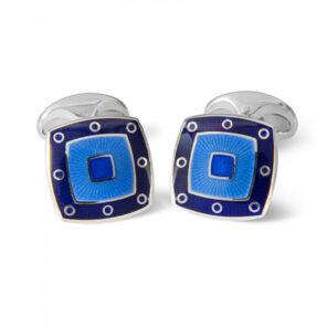 Sterling Silver Blue Enamel Cufflinks with Spot Border