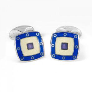 Sterling Silver Clear Enamel Cufflinks With Blue Spot Border