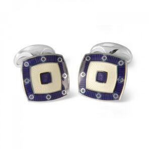 Sterling Silver Clear Enamel Cufflinks with Purple Spot Border