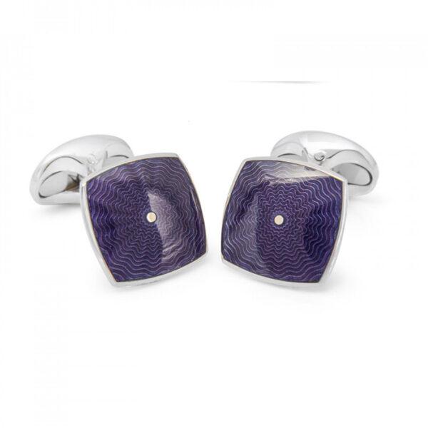 Sterling Silver Deep Purple Enamel Cufflinks