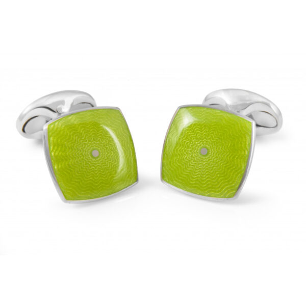 Sterling Silver Lime Green Enamel Cufflinks