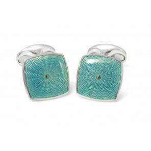 Sterling Silver Teal Blue Enamel Cufflinks