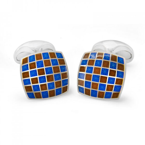 Sterling Silver Enamel Checkerboard Cufflinks in Red and Blue