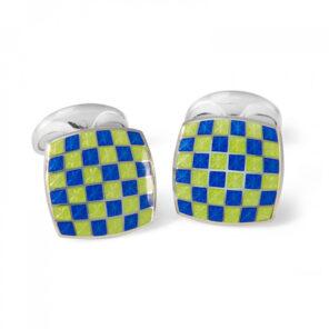 Sterling Silver Enamel Checkerboard Cufflinks in Green and Blue