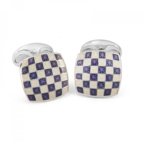 Sterling Silver Enamel Checkerboard Cufflinks in Purple